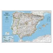 Wandkaart Spain - Spanje & Portugal, 83 x 55 cm   National Geographic