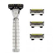 SHAVE-LAB - TRES - Set de afeitado inicial con 4 cuchillas (White Edition con P.6 - para Hombre)