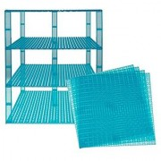 Premium Clear Turquoise Stackable Base Plates - 4 Pack 10 x 10 Baseplate Bundle with 60 Clear Turquoise Bonus Building Bricks (LEGO Compatible) - Tower Construction