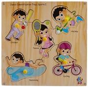 Skillofun Wooden Junior Identification Tray Sports I with Knobs, Multi Color