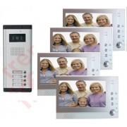 Videocitofono fotorecorder DVR per condominio quadrifamiliare 4 monitor