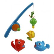 Rod and Reel Fishing Game Bath Toy Set for Kids with Fish and Fishing Pole