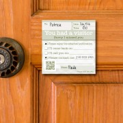 Sticky notes for not-at-homes and return visits: 'You had a visitor'