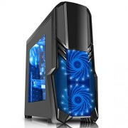 CiT G Force - Alloggiamento per PC da gioco, con ventola a 15 LED blu frontale, colore: nero