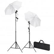 vidaXL Комплект за студийно осветление с два чадъра