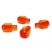 Lego Parts: Light Cover with Internal Bar / Bionicle Barraki Eye (PACK of 4 - Transparent Orange)