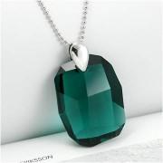 Colier argint cristal Swarovski verde smarald