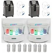 Package Bar à oxygène complet VIP2 avec 2 générateurs d'oxygène, 2 stations oxygene, 4 casques inhalateurs