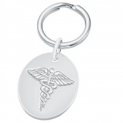 Medical Alert SOS Keyring, 925 Sterling Silver (can be personalised)
