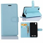 Huawei P10 - PU lederen TPU Portemonnee hoesje met Kaarthouder Lychee - Aqua Blauw