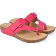 Clarks Perri Coast Fuchsia Leather Slippers