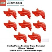 Lego Parts: Minifig Plume Feather Triple Compact (Flame / Water) (Trans-NeonOrange)