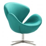 Sillón Swan replica tejido turquesa Inspirado en Arne Jacobsen
