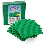 Brick Building Base Plates By SCS - Small 5 x5 Green Baseplates (10 Pack) - Tight Fit with All Major Brick Sets