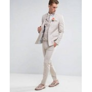 ASOS Wedding Skinny Suit Jacket in Crosshatch Nep In Putty With Floral Print Lining - Grey