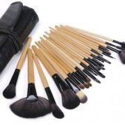 DRQ Makeup Brushes 24pcs Quality Natural Cosmetic Brush Set with Leather Pouch, 24 Count Bursh set For Eye Shadow, Blush, Concealer, Etc (Wood Tube)