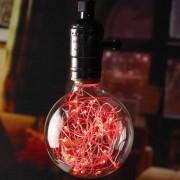 Hession E27 vendimia globo cadena de luz LED de luz roja (4 unidades)