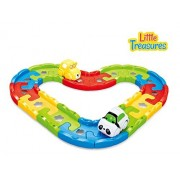 Magic Track Set Easy To Assemble Building Blocks For Toddlers Of Age 18 M+, Colorful Pieces Clamped Together To Build Up A Car Track, So The Little Cars Could Move Around By Pressing The Move Button