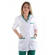 HALAT cu insertie si nasturi, de dama, alb cu verde - cod HN01-14
