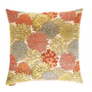 "24"" x 24"" Mumsford floral print throw pillow with a feather/down insert and zippered removable cover"