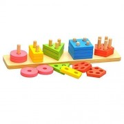 Happy Cherry Baby Kid Wooden Stacking Shapes Stack And Sort Board Educational Toy