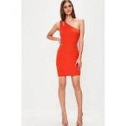 Missguided Red Crepe One Shoulder Bar Detail Bodycon, Red