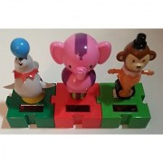 Solar Powered Dancing Circus 3 Animals Connectable Seal Elephant Monkey