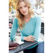 ランズエンド LANDS' END レディース・ランズエンド・カシミヤ・ケーブル・セーター/長袖(シーアクアヘザー)