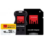 Strontium Nitro 16Gb Class 10 MicroSDHC UHS-1 (With Card reader & MicroSD Adapter)