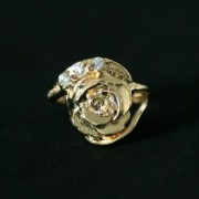 Semi Ring Jewelry Rose Gold Plated with Rhinestones with Zirconia Stones