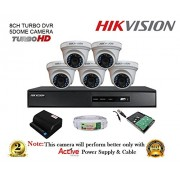 Hikvision DS-7208HQHI-F1 1080P (2MP) 8CH DVR + Hikvision DS-2CE56DOT-IRP Dome Camera 5Pcs+ 2TB HDD + Active Copper Cable + Active Power Supply Full Combo Kit.