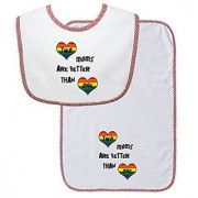 Two Moms Are Better Than One Soft Terry Cotton Baby Bib & Burp Cloth Set Red Trim