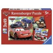 Ravensburger 92819 Giro intorno al mondo, Cars 2 Puzzle 3x49 pezzi