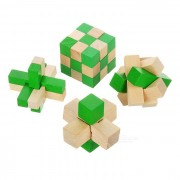 Wooden Puzzle Interlocks + Snake Puzzle Magic Cube Brain Teaser Educational Toys - Wood + Green
