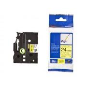 BROTHER TZ Tape, 24mm Black on Yellow Flexible ID (TZEFX651)