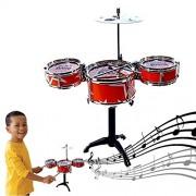 Dazzling Toys Red Desktop Drum Set Musical Instrument Toy Playset Rock on Drums