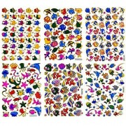 Fish005 - 6 Sheets of Scrapbook Stickers Fish Fish Scrapbook Stickers Farm Animal Stickers - Animal Scrapbook Stickers - Reflective Stickers - Animal Stickers for Kids - Size 4 X 5.25 Inch./sheet