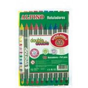 Carioca cu 2 capete, varf subtire/gros, 10 culori/set, ALPINO Double