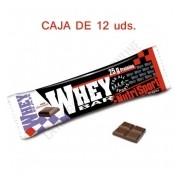 Caja 12 uds. barritas Whey Bar Nutrisport sabor chocolate 80 gr.