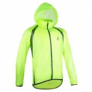 ARSUXEO Ultrathin Chaqueta de lluvia para ciclismo de los hombres - Fluorescent Green (XXL)