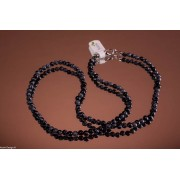 Colier obsidian fulg-de-nea de 45cm cu mărgele rotunde 4mm