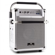Malone Rock Fortress Portable PA System 50W USB Bluetooth Radio AUX Silver