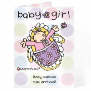 Bang On The Door Personalised Baby Girl Card