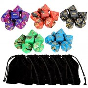 Outee 5 x 7 (35 Pieces) Polyhedral Dice and Dice with 5 Complete Dice set for Dungeons and Dragons DND RPG MTG D20 D12 D10(00-90 and 0-9) D8 D4 Table Games