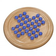 Marble Solitaire - Blue Glass Marbles with Solid Maple Wood Board 8.5 in.