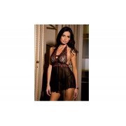2 PC Lace&Mesh Halter Babydoll
