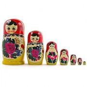 7 Pieces 7 (H) Large Semenov Wooden Russian Nesting Dolls Matryoshka Wood Nested Stacking Dolls