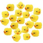 20pcs/set OPCC Mini Yellow Rubber Bath Ducks for Child Rubber Duck Bath Toy Baby Shower Birthday Party Favors
