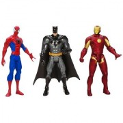 3 Action Figures Avengers - Batman Spiderman & Iron Man With LED Light