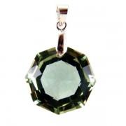 Fazettált zöld praziolit ametiszt oktagon medál #46
